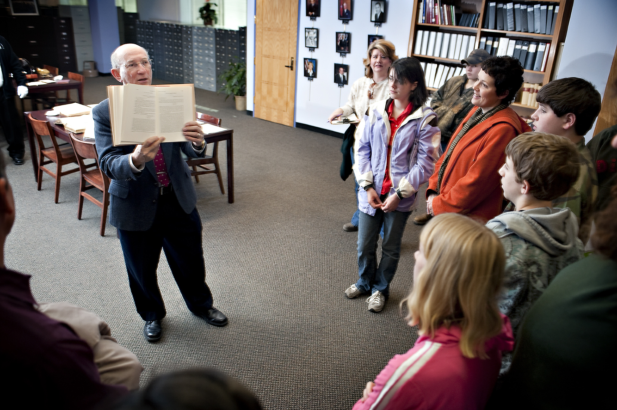 At MSU's Mitchell Memorial Library, John Marszalek recently showed visiting high school students a selection of President U.S. Grant's papers--something they now also may view online.
