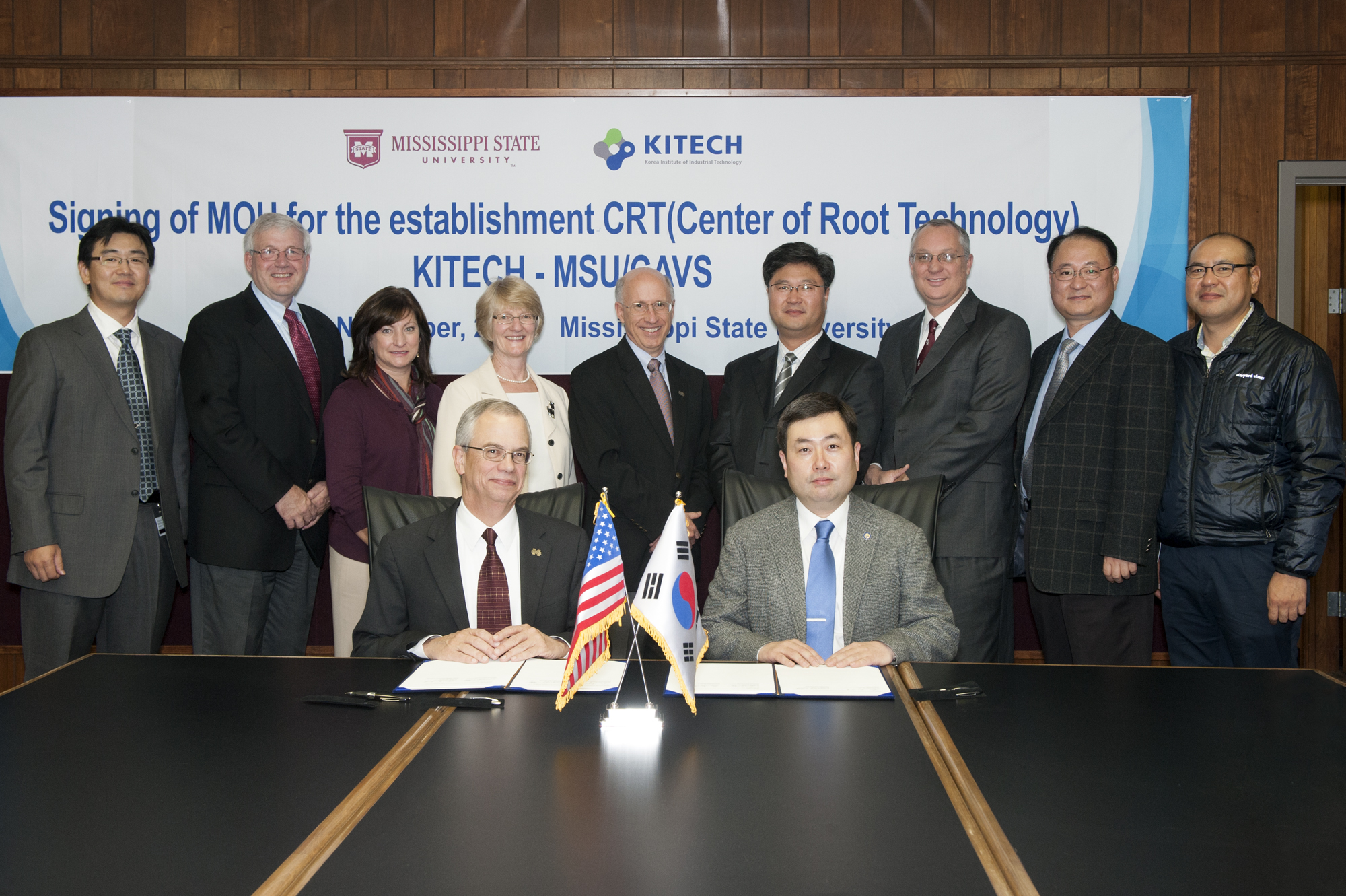 MSU leaders and KITECH officials gathered to mark the official beginning of their collaborative agreement and to launch the Center for Root Technologies. Signing the Memorandum of Understanding were MSU Provost and Executive Vice President Jerry Gilbert and KITECH Incheon Region Division Chief Executive Officer Sang-Mok Lee.