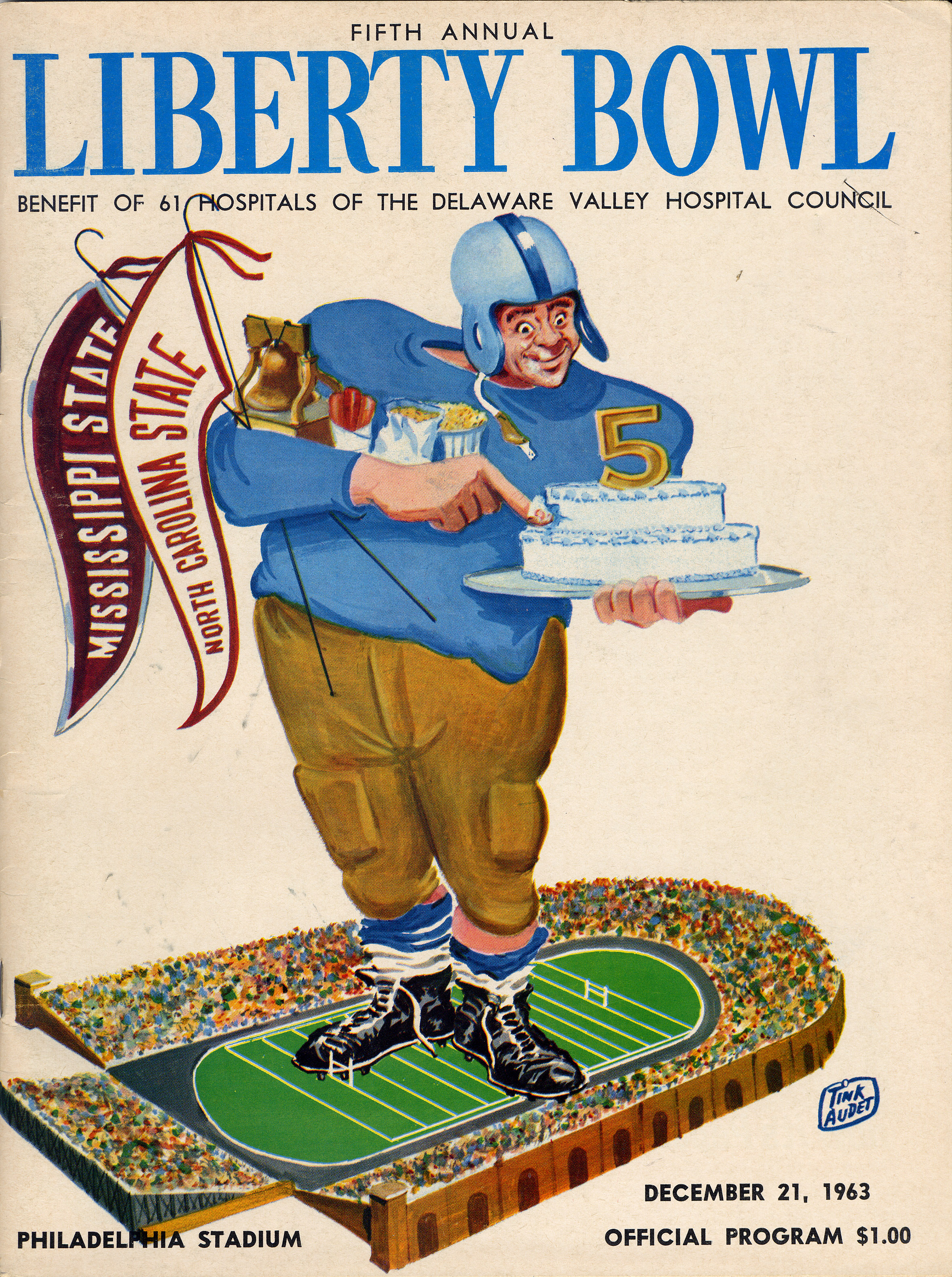 The original 1963 Liberty Bowl program cover, featuring Mississippi State University and North Carolina State University. MSU won the matchup, 16-12.