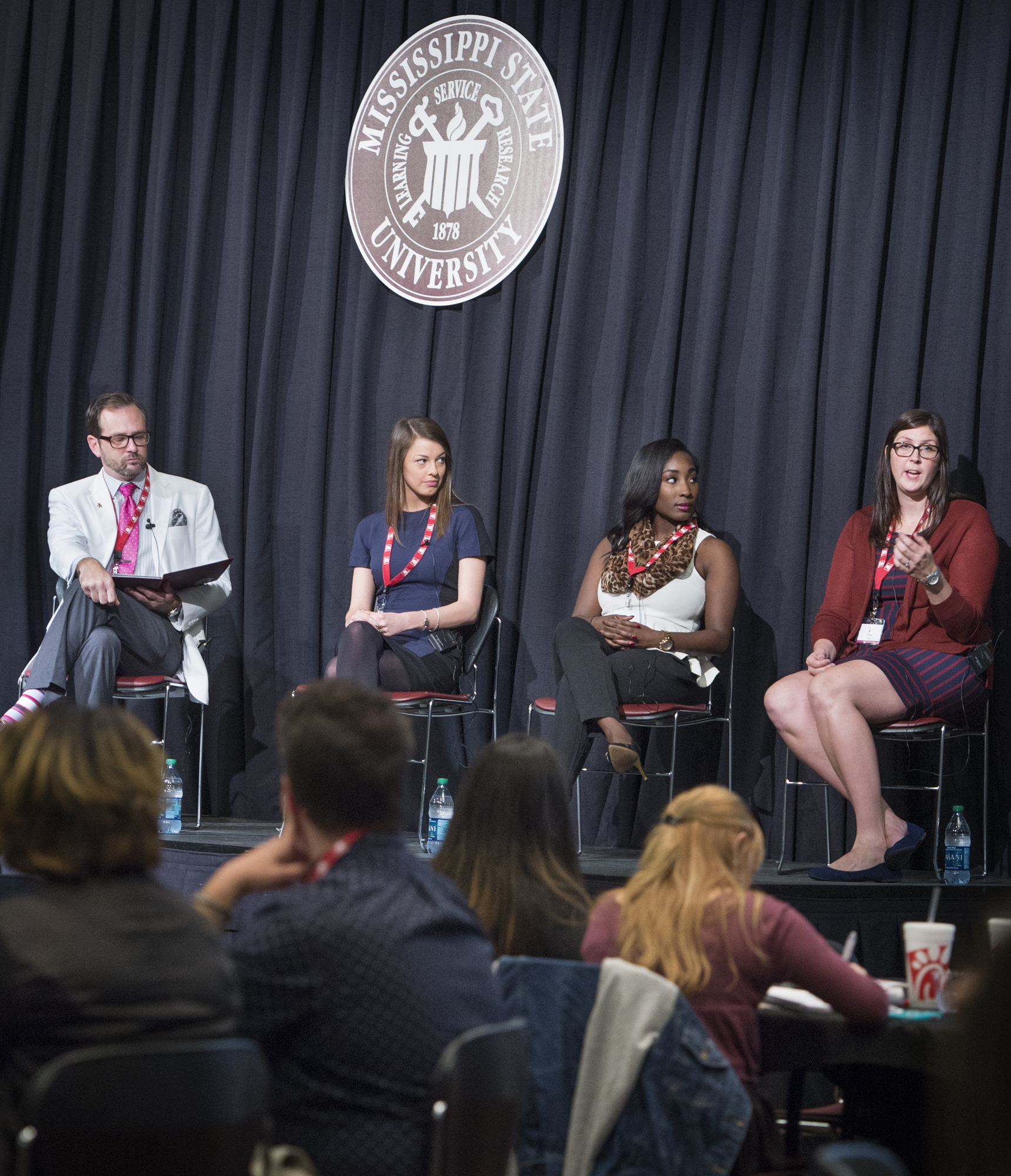 MSU alumni Caroline Gilbert, right, tells Mississippi State University fashion design and merchandising students how important mentors are at the Leadership Retail Program Conference on Thursday. Charles Freeman, MSU assistant professor, moderated the panel, which also included Caroline Gilbert, assistant customer experience manager at Nordstrom and Shaquayla Mims, coordinator of student initiative for National Retail Federation.