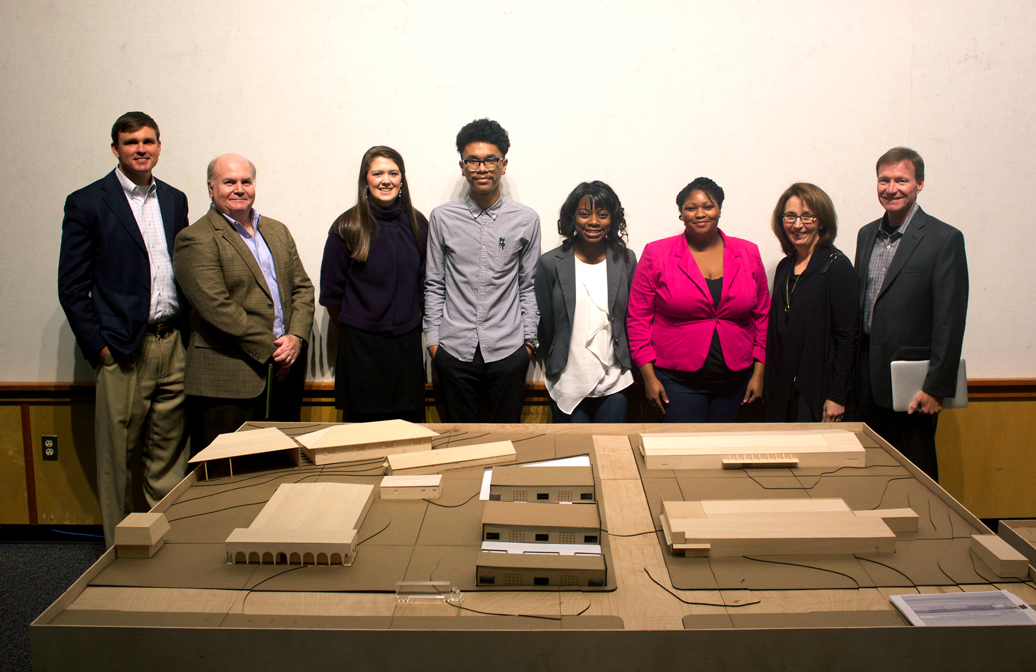 A studio class of fourth-year architectures majors at MSU recently developed ideas for a recycle-reuse process known as functional symbiosis. Among winners were (third from left to right) Megan Vansant, Kevin Flores, Aryn Phillips and Nenyatta Smith. Also pictured are (far left) project juror Patrick Sullivan and former MSU architecture major Keith Findley. With them are (at far right) juror Daria Pizzetta of H3 Hardy Collaboration and architect Jim Findley, an MSU alumnus.