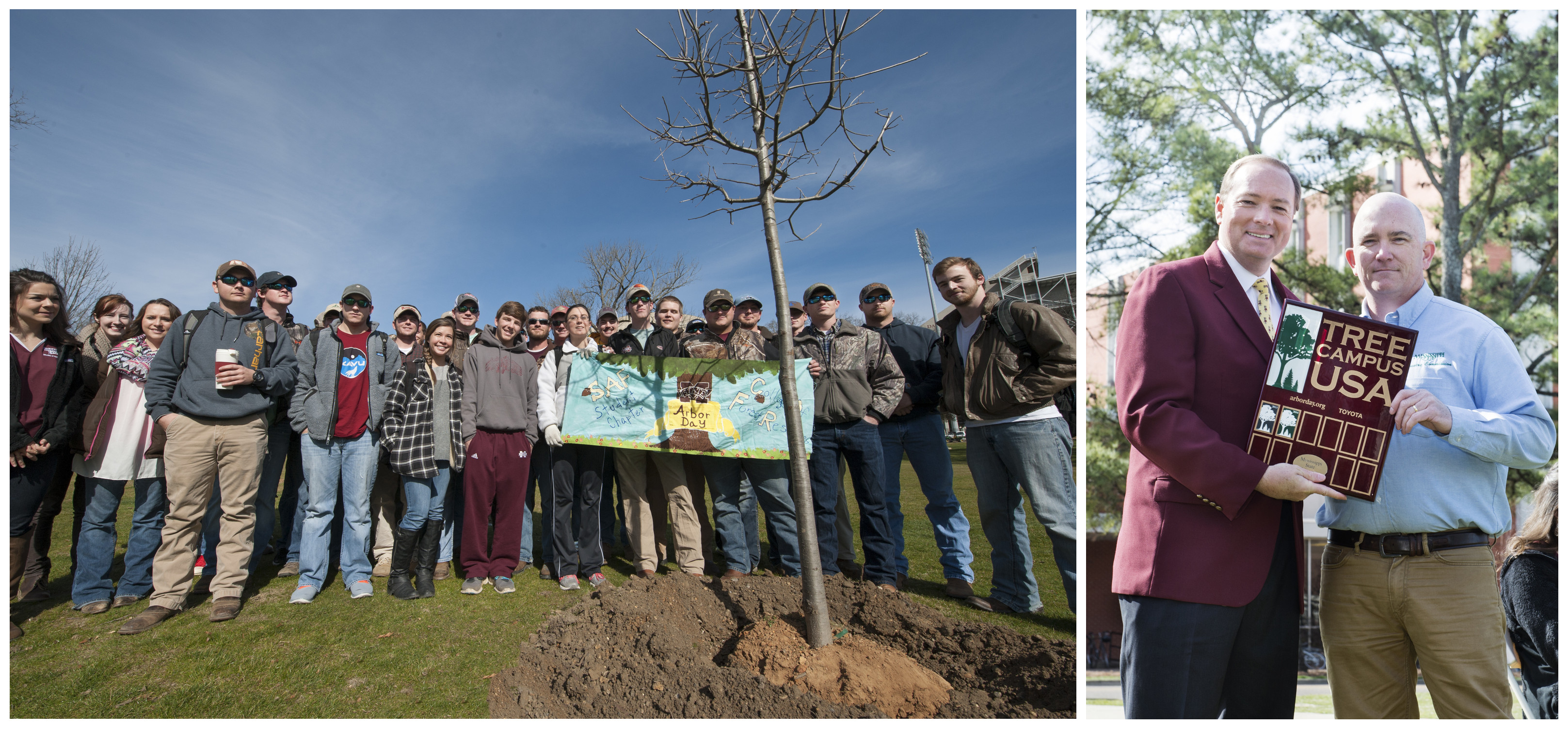 Left: Members of the university's student chapter of the Society of American Foresters planted an oak tree during the Feb. 13 Arbor Day celebration. Right: MSU President Mark E. Keenum, left, received a plaque from Todd Matthews, urban forestry coordinator with the Mississippi Forestry Commission, in recognition of the university's designation as a Tree Campus USA campus by the Arbor Day Foundation.