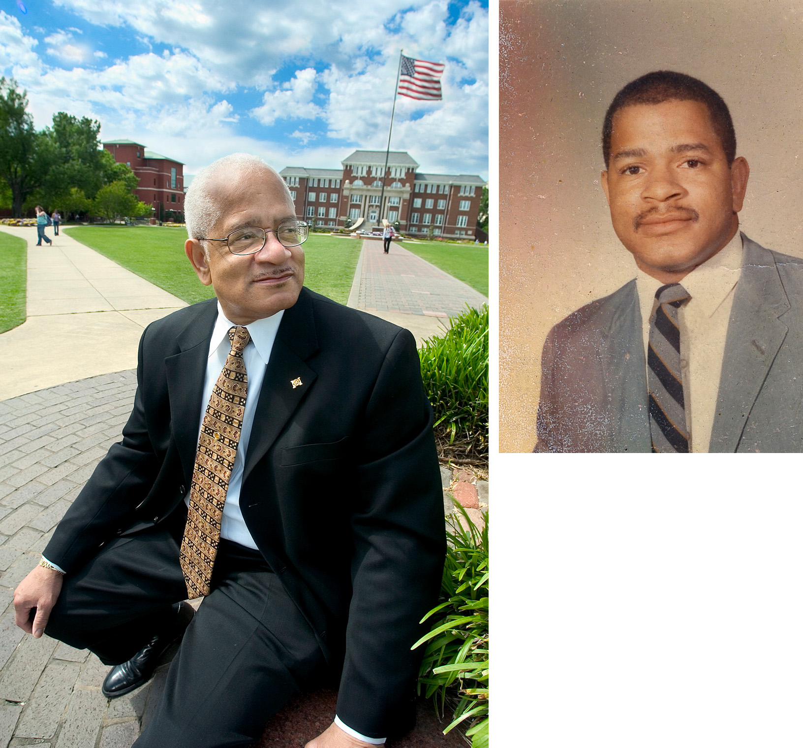 (Left) Dr. Richard Holmes on the MSU Drill Field in 2005.<br /> (Right) Holmes in 1965.<br />